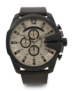 Men's Mega Chief Leather Strap Watch