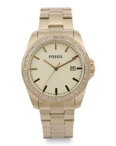 Women's Crystal Bezel Bracelet Watch In Gold