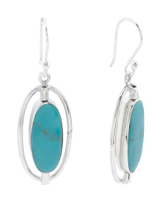 Made In Mexico Sterling Silver Turquoise Oval Earrings