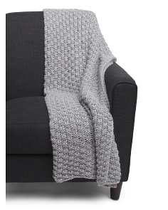 Made In Italy Textured Sparkle Knit Throw