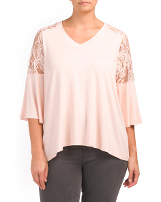 Plus Lace Bell Sleeve Top