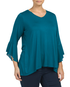 Plus V-neck Top With Ruffle Sleeve