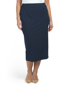 Plus Scuba Crepe Slim Midi Pencil Skirt With Slit