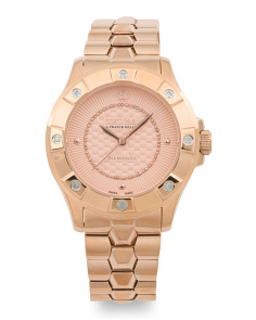 Women's Swiss Made Diamond Accent Bracelet Watch