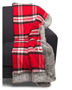 Faux Fur Holiday Plaid Reversible Throw