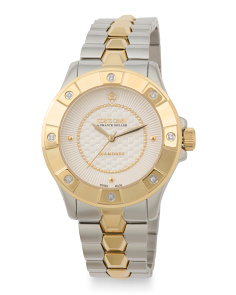 Women's Swiss Made Two Tone Diamond Accent Bracelet Watch