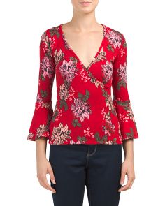 Juniors Flare Sleeve V-neck Top