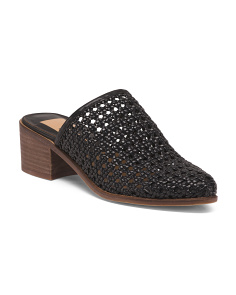 Open Weave Stacked Heel Mules
