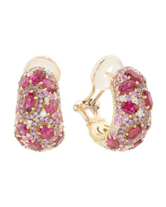 Made In Thailand 18k Gold Diamond Pink Sapphire And Rubellite Earrings
