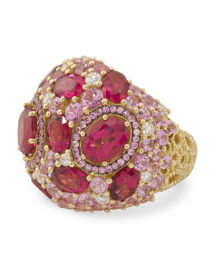 18k Gold Diamond Pink Sapphire And Rubellite Pave Dome Ring