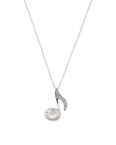 Sterling Silver Swarovski Crystal Music Note Necklace