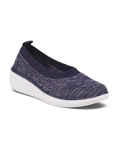 Wide Slip On Wedge Comfort Sneakers