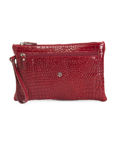 Made In Italy Leather Croc Wristlet Pouch