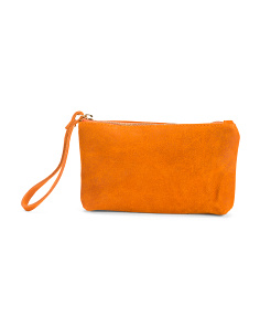 Made In Italy Leather Zip Pouch