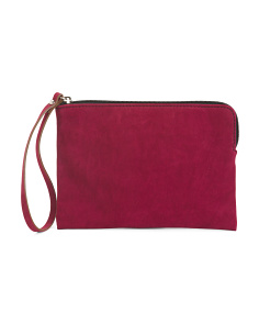 Made In Italy Suede Pouch Wristlet