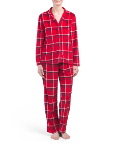 Plaid Velour Notch Pj Set