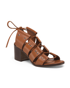 Made In Italy Stacked Heel Lace Up Leather Sandals