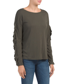 Leona Ruffle Long Sleeve Tee