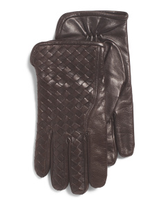 Made In Italy Leather Woven Gloves
