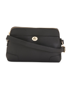 Leather Lock Front Shoulder Bag