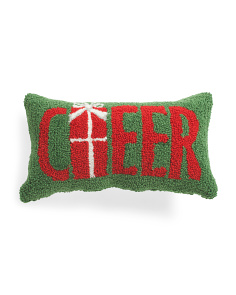 9x16 Hand Hooked Cheer Pillow