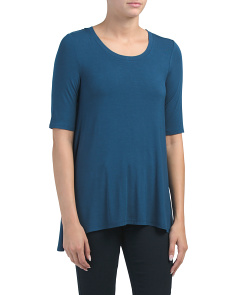 Elbow Sleeve Scoop Neck Trapeze Top