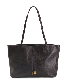 Leather Tab Front Tote