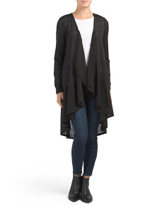 Long Cardigan With Ruffle Front