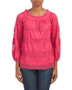 Smocked Neck Swing Top