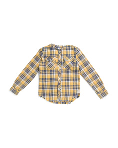 Big Boys Hooded Plaid Woven Top