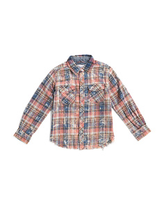 Big Boys Plaid Long Sleeve Woven Top