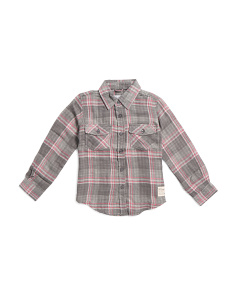Big Boys Plaid Long Sleeve Woven Shirt