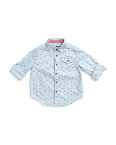 Little Boys Lightning Bolt Woven Top