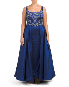 Plus Ball Gown With Beaded Bodice