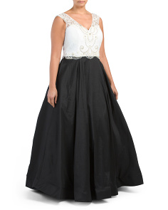 Plus Beaded Ball Gown