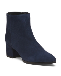 Made In Spain Block Heel Suede Booties