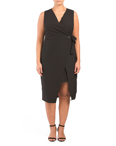 Plus Belted Midi Wrap Dress