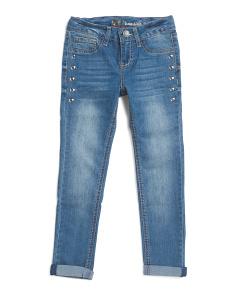 Big Girls Grommet Roll Cuff Jeans