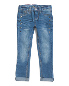 Little Girls Grommet Roll Cuff Jeans