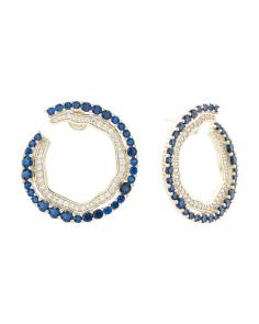 Gold Plated Sterling Silver Blue Cz Open Circle Earrings
