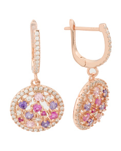 Rose Gold Plated Sterling Silver Round Cz Drop Earrings