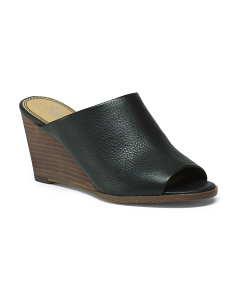 Stacked Wedge Peep Toe Leather Mules