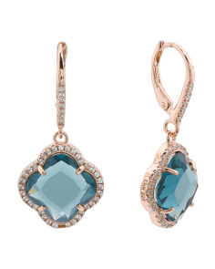 Rose Plated Sterling Silver London Blue And Cz Earrings