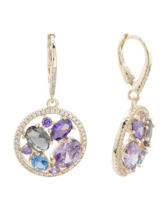 Gold Plated Sterling Silver Cz Drop Earrings