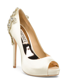 Crystal Embellished Satin Evening Pumps