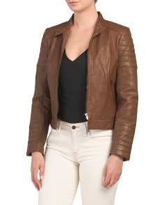 Petite Lamb Leather Quilted Moto Jacket