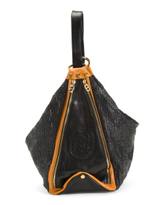 Made In Italy Embossed Leather Bucket Hobo