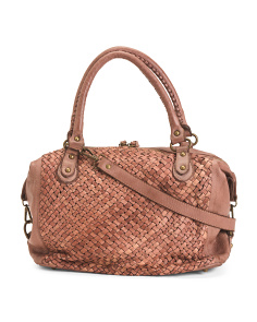 Made In Italy Leather Woven Satchel