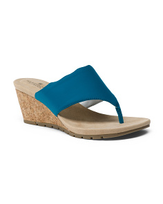 Wide Slip On Wedge Sandals