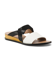 Colorblock Leather Wedge Sandals